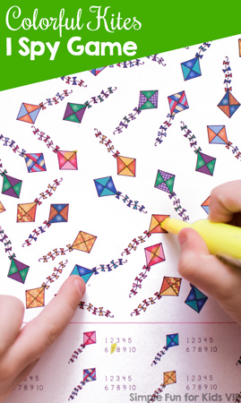 Practice counting up to 10, 1:1 correspondence, visual discrimination, number recognition, and more with a spring theme: Colorful Kites I Spy Game, perfect for preschoolers!