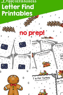 Differentiated Letter Find Printables for Learning the Alphabet