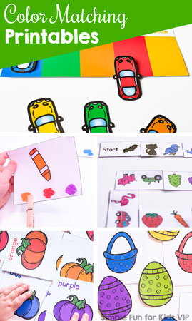 Practice basic colors, color sorting, and color matching with these simple, fun Color Matching Activities for Kids! Includes clip cards, matching games, memory games, domino games, and more for toddlers and preschoolers.