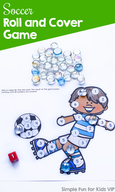 Play a fun simple game to practice number recognition, number matching, taking turns, or just for fun: Soccer Roll and Cover Game for preschool and kindergarten.
