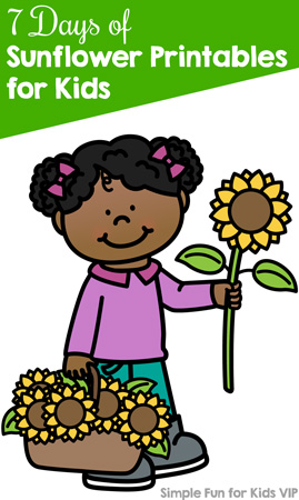 Follow along with the 7 Days of Sunflower Printables for Kids! One math, literacy, or science printable per day for toddlers, preschoolers, kindergarteners and/or elementary students.