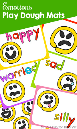 Learn about eight different emotions (happy, excited, silly, sad, upset, worried, angry, surprised) in a hands-on way with these cute colorful play dough mats for toddlers, preschoolers, and kindergarteners!