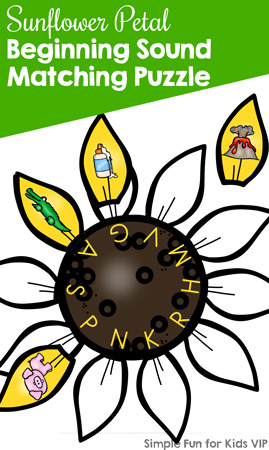 Here's a fun way to practice beginning sounds for preschoolers and kindergarteners: Sunflower Petal Beginning Sound Matching Puzzle, part of the 7 Days of Sunflower Printables for Kids series (day 3).