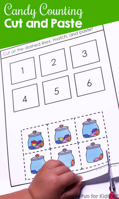 Cutting and pasting is so much fun! This printable Candy Counting Cut and Paste Worksheet is a fun way to work on counting, number recognition, and fine motor skills for preschoolers and kindergarteners.