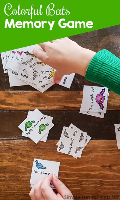 This is a great printable game for kindergarteners learning their color and number words: Colorful Bats Memory Game, perfect for Halloween or any day! (And my toddler liked it, too :) )