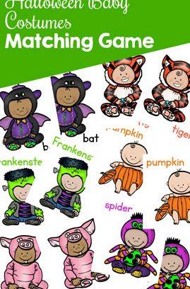 Halloween Baby Costumes Matching Game