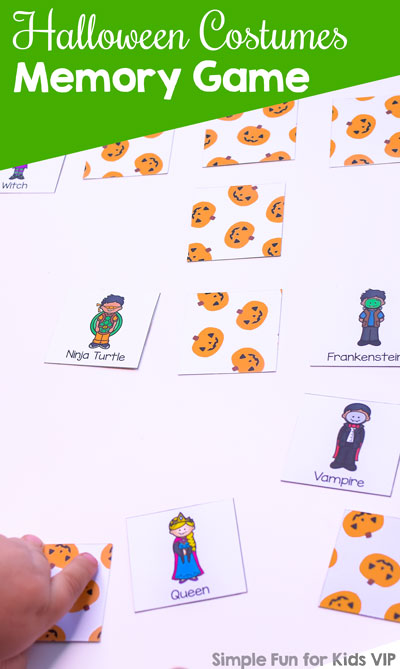 Play this fun little Halloween Costumes Memory Game with kindergarteners or elementary students! 20 cute images of kids wearing Halloween costumes such as a cat, queen, mummy, pumpkin, ghost, etc.