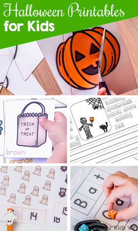 Check out all of my Halloween printables! Literacy, math, games, and fun stuff for toddlers, preschoolers, and kindergarteners, all with a cute Halloween theme!
