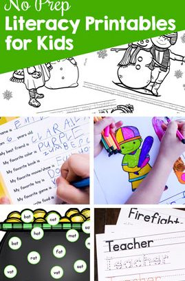 No Prep Literacy Printables for Kids