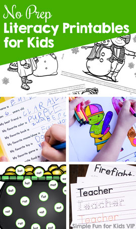 Do you need a quick and simple literacy worksheet that doesn't require cutting or other preparation? Check out these 75+ No Prep Literacy Printables for Kids! They cover many different learning objectives for toddlers, preschoolers, and kindergarteners.