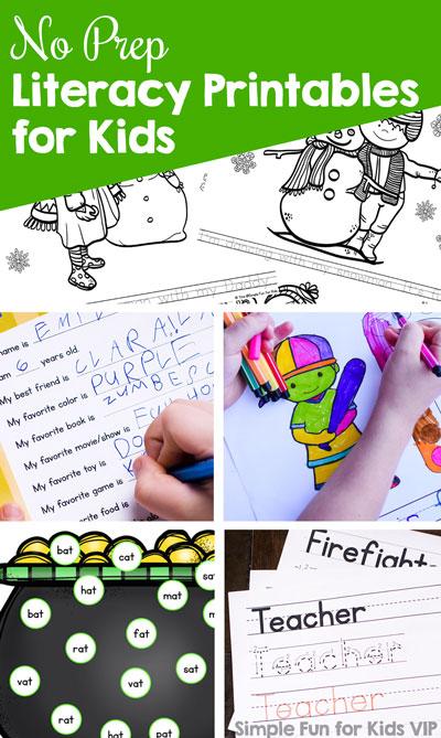 No Prep Literacy Printables for Kids - Simple Fun for Kids VIP