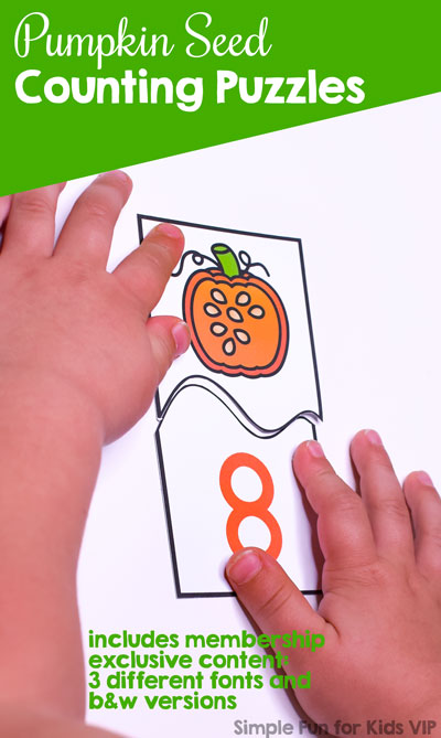 What a fun way to practice counting: These Pumpkin Seed Counting Puzzles cover numbers 0 through 10, perfect for preschool and kindergarten.