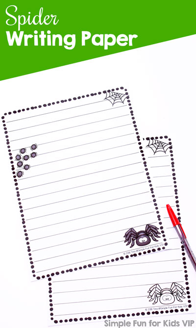 For Halloween, as part of a science unit, or for any day: Spider Writing Paper for all your writing needs or as a writing prompt about spiders. Great for any age from preschool through elementary.