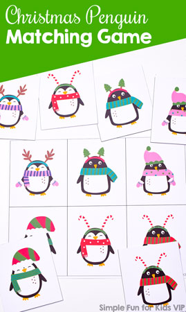 Perfect for little toddler hands: Christmas Penguin Matching Game with six large matching cards featuring the cutest penguins dressed up for Christmas.
