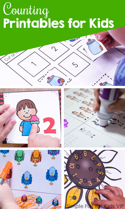 Learning to count? Check out these 50+ Counting Printables for Kids from Simple Fun for Kids! Includes no prep printables, number cards, cut and paste activities, puzzles, games, clip cards, and more for toddlers, preschoolers, and kindergarteners.