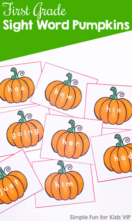 Learn first grade sight words with these cute printable pumpkins! Includes all 41 first grade Dolch sight words on one pumpkin each.