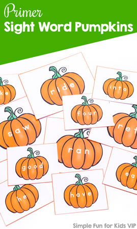 Help your preschooler, kindergartner, or first grader learn sight words with these Primer Sight Word Pumpkins! Use them as flash cards, for sensory bins, memory, and other games! Then get the other sets of pre-primer, first, second, and third grade sight words, too!