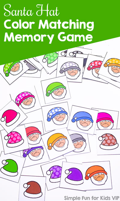 Get ready for Christmas with this super cute printable Santa Hat Color Matching Memory Game. You can start out with just a few matches for toddlers and preschoolers and work up to using all of the 40 matches or even double up for even more of a challenge for kindergarteners and elementary students.