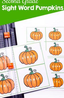 Second Grade Sight Word Pumpkins Printable