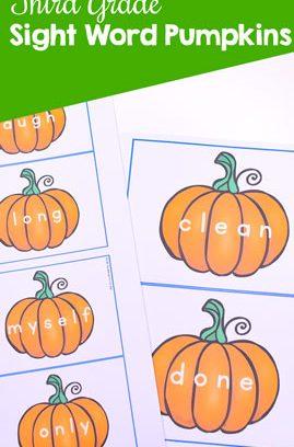 Third Grade Sight Word Pumpkins