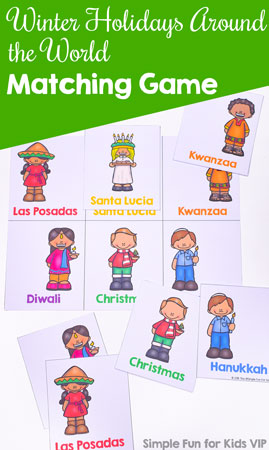 Learn about different religious winter holidays with this cute printable Winter Holidays Around the World Matching Game for Toddlers! Big cards and bright colors perfect for little hands, and with a black and white VIP version for added coloring fun.