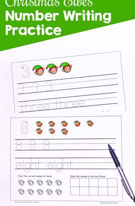Christmas Elves Number Writing Practice