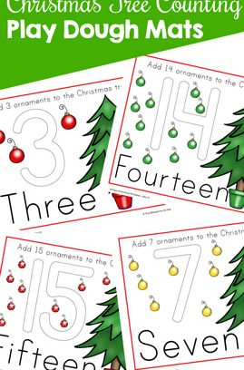 Christmas Tree Counting Play Dough Mats
