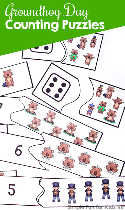 Learn to count with numbers and die faces with these cute printable Groundhog Day Counting Puzzles! Great for preschoolers who are learning to count to 10.