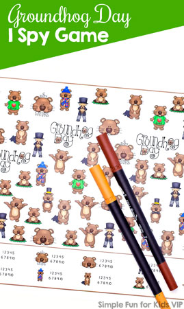Groundhog Day is kind of quirky, but really just a fun holiday to talk about. Play this printable Groundhog Day I Spy Game with your toddler or kindergartener as a conversation starter, to practice counting, 1:1 correspondence, number recognition, and more! Practice math without even noticing.