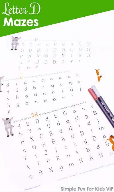Free alphabet printables for kids: Super cute letter D maze!