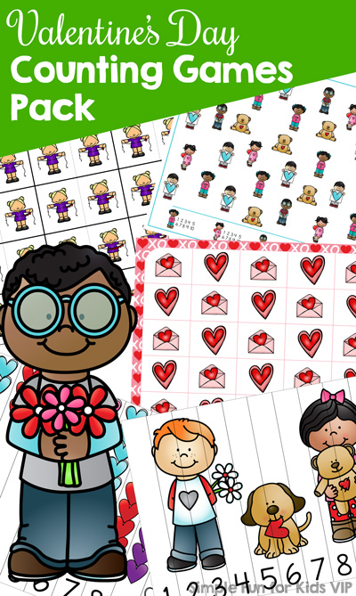 Valentine's counting fun for preschoolers and kindergarteners with this Valentine's Day Counting Games Pack! 5 different games with many variations: Dominoes, I Spy, Line-Up Puzzles, 2-Piece Puzzles, and Grid Games with an optional custom die. All in color and black & white and with two different styles for number 1.