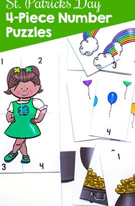 St. Patrick's Day 4-Piece Number Puzzles