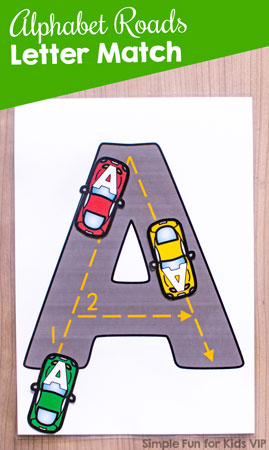Alphabet Roads Letter Match: A fun way to practice letter recognition, upper- and lowercase matching, letter sorting, tracing, and more! Perfect for toddlers and preschoolers.