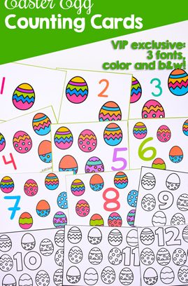 Easter Egg Counting Cards 1-12