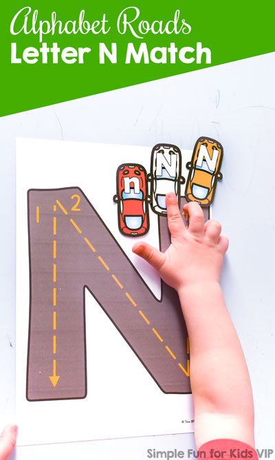 Alphabet Roads Letter N Match: A fun way to practice recognition of letter N, upper- and lowercase matching, letter sorting, tracing, and more! Perfect for toddlers and preschoolers.