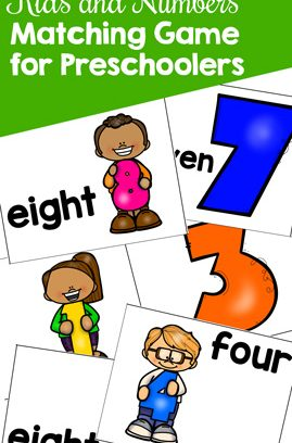 Kids and Numbers Matching Game for Preschoolers