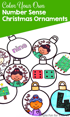 Coloring your own Candy Cane Number Sense Christmas Ornaments is a fun and easy math craftivity to review different types of representing numbers 0-10 with preschoolers, kindergarteners, and first graders.