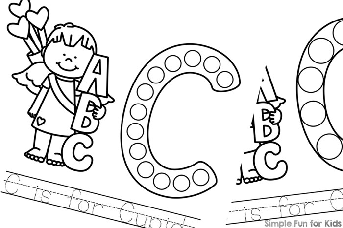 C is for Cupid Dot Marker Coloring Pages - Simple Fun for ...