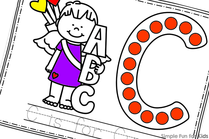 Learn about the letter C with these cute printable C is for Cupid Dot Marker Coloring Pages! Perfect for toddlers, preschoolers and others learning their letters.
