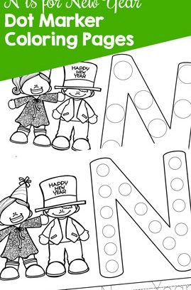 N is for New Year Dot Marker Coloring Pages Printable