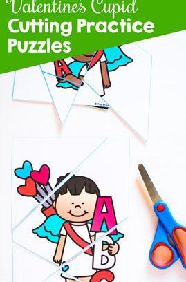 Valentine's Cupid Cutting Practice Puzzles