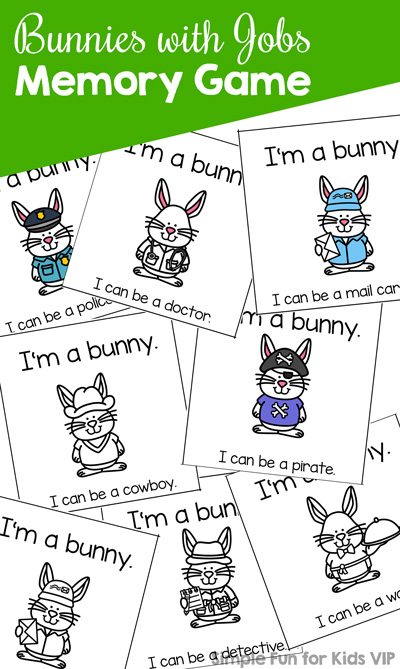 Match community helper bunnies with this fun Bunnies with Jobs Memory Game with your preschooler or kindergartener.