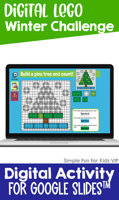 Ten fun winter-themed digital LEGO challenges for Google Slides and Google Classroom. Students can practice skills such as copying & pasting, dragging & dropping, typing in text boxes, and counting in a super-engaging way.