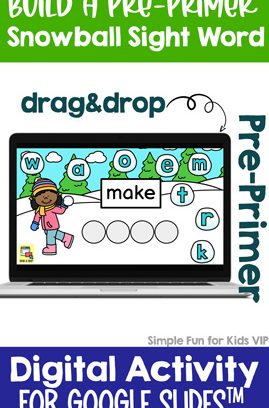 Digital Build a Snowball Pre-Primer Sight Word Drag&Drop