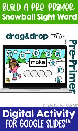 Digital Build a Snowball Pre-Primer Sight Word Drag&Drop