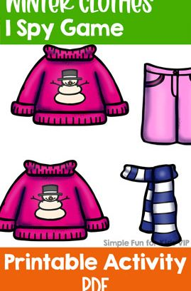 Winter Clothes I Spy Game for Toddlers