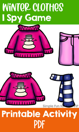 This super simple I spy game is perfect for introducing toddlers to counting to 3, one to one correspondence, visual discrimination, and more: Winter Clothes I Spy Game for Toddlers! (Day 21 of the 24 Days of Christmas Printables for Toddlers.)