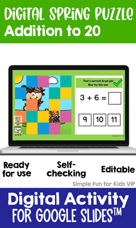 This 25-piece Addition to 20 Digital Spring Puzzle is perfect for first graders working on their addition facts. It's self-checking and editable for maximum ease of use!