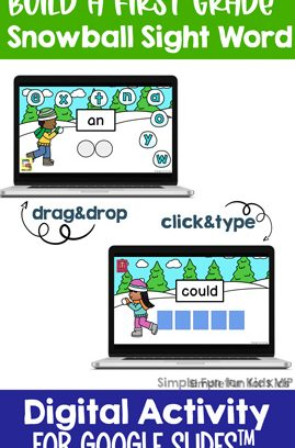 Digital Build a Snowball First Grade Sight Word Mini Bundle