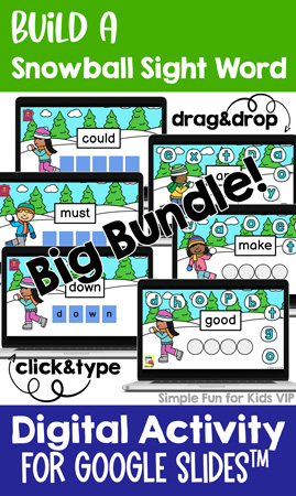 This Build a Snowball Sight Word Big Bundle includes 315 sight words (pre-primer, primer, first, second, third grade, and nouns) in drag&drop and click&type versions. Great for practicing sight words, typing, letter recognition, and fine motor skills.